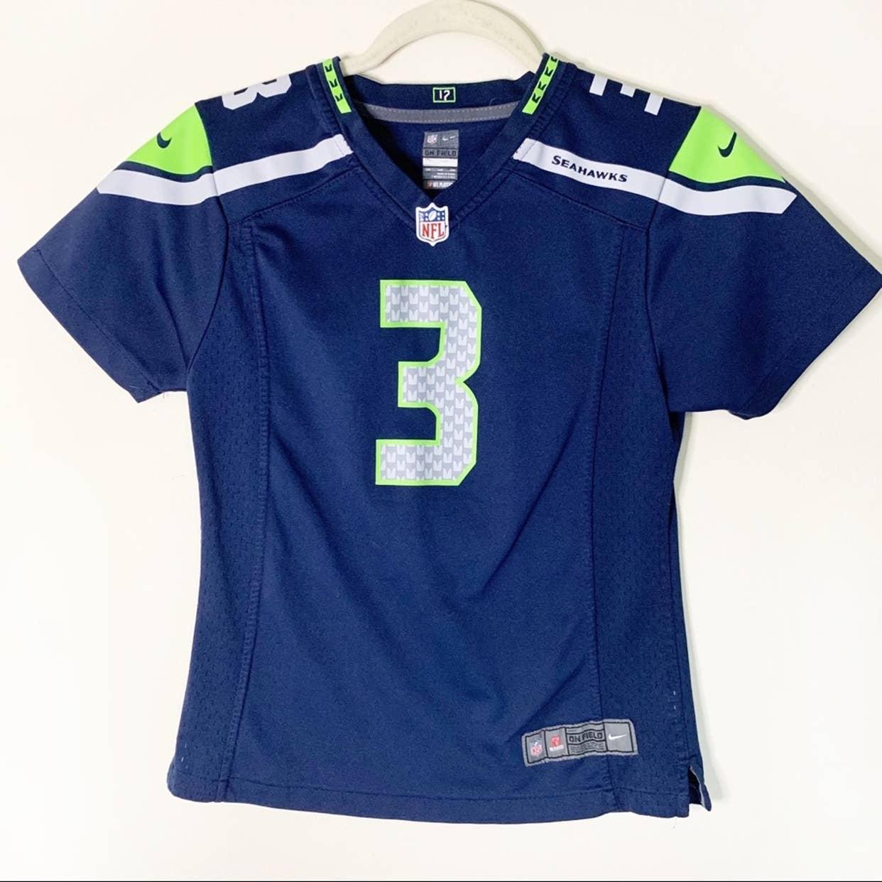 Seahawks Russell Wilson No 3 Nike NFL On Field Jersey Boys Sz L (14)