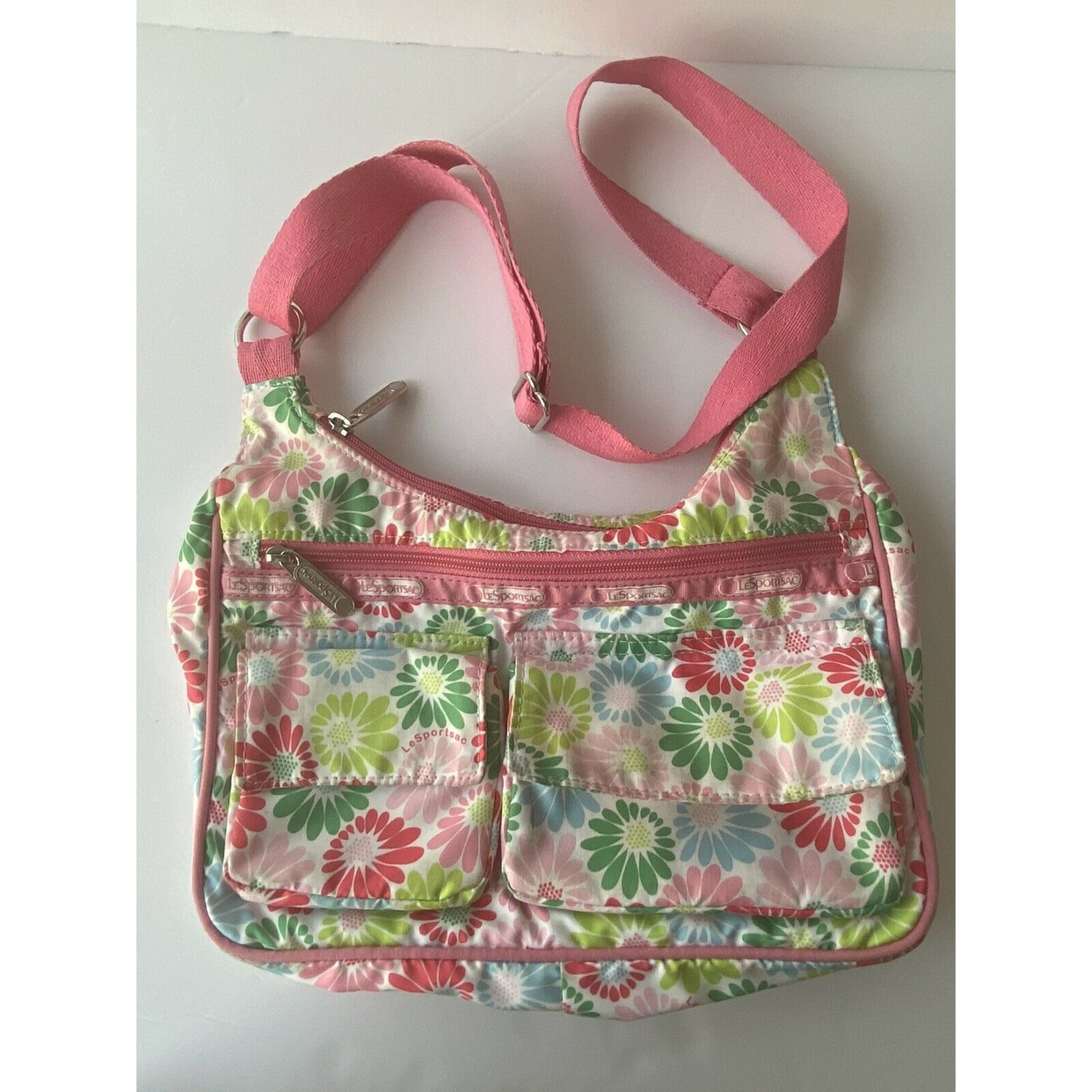 Green and blue flower bag