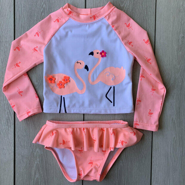 Gymboree Girls/' Swim Bathing Suit Rash Guard Two Piece Swimsuit Flamingo Kitty