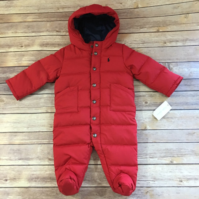93970fbeb10e 🚨 🦌 Ralph Lauren Red Quilted Snowsuit Bunting NEW NWT 6 Mo 🦌 🚨