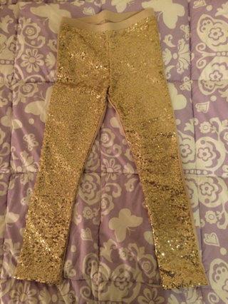 Joyfolie Gold Sequin Leggings Size 5