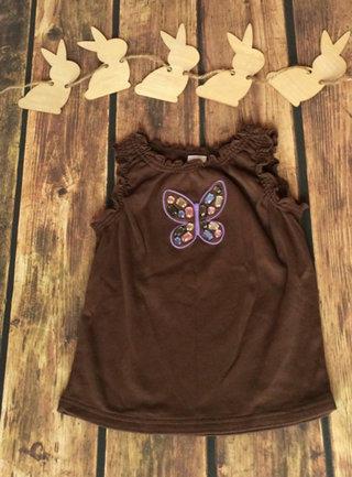 Brown Tank W Gem Butterfly 6yr