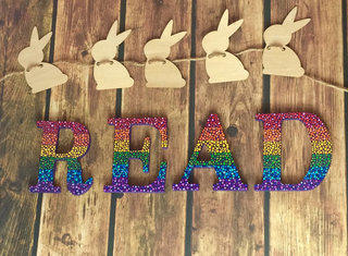 Rainbow Polka Dot READ Letters