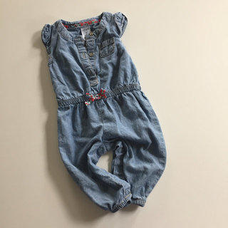 Chambray Romper With Flower Bow