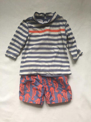 Seahorse Swim Trunks And Striped Rashy