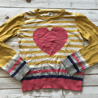 Heart Striped Sweater Fits Small
