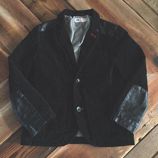 H&M Black Leather Sleeve Cord Jacket