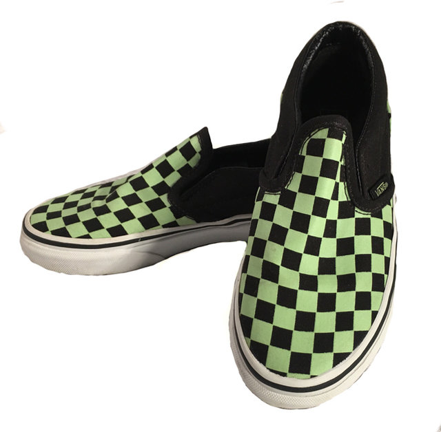 85a844240e6943 Vans Green Black Checker Loafer