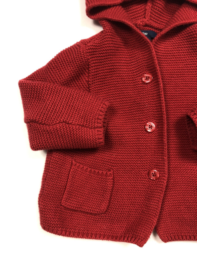 Baby Gap Red Hooded Cardigan Sweater