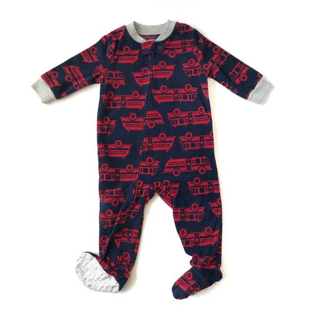 0181ea777 Carter's Boy Pajamas Fleece Footed Firetruck Red Blue Zipper 12 M
